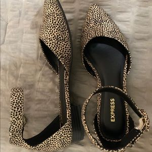Express Women's Animal Print pointed Toe Flats